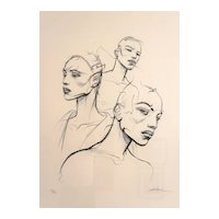Enki Bilal — 'The three sisters' silk-screen printing enhanced by hand N°11/32