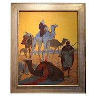 """Oil Painting """"Les Touaregs"""" by Léon Carré, France, Art Deco, 1921"""