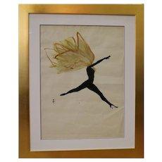 Drawing of a Dancer by René Gruau, France, Circa 1950