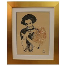 Drawing of a Lady Receiving a Bunch of Flowers by René Gruau, Circa 1957