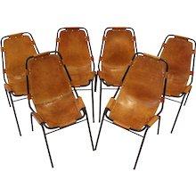 Set of Six Original Charlotte Perriand Les Arcs Chairs, France, 1960's