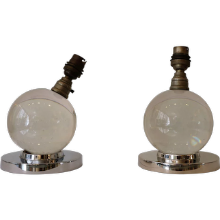 Iconic Pair of Table Lamps by Jacques Adnet and Baccarat