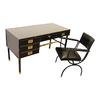 Rare Desk and Armchair by Jacques Adnet, Stitched Leather and Skaï, 1950s