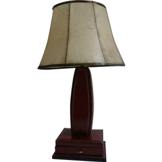Table Lamp by Jacques Adnet, Stitched Leather, France, 1950s