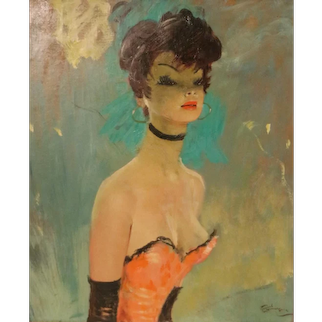 Stunning Portrait by J-G Domergue, France, with Noé Willer Certificate