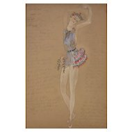 Study of a costume for a ballet dancer by Natalia Gontcharova (1881-1962).