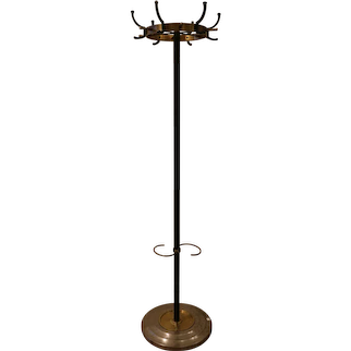 Rare Coat Stand by Jacques Adnet, Stitched Leather, 1950s