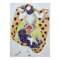 Watercolor of a Semi Nude Dancer for Scheherazade ballet by Bakst, France, 1910