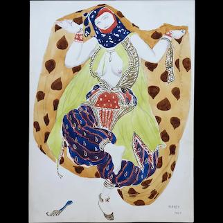 Watercolor of a Semi Nude Dancer for Scheherazade ballet by Bakst, France, 1910