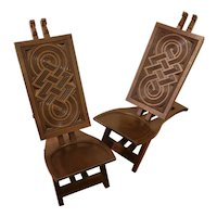 "Very rare pair of ""Africanist"" chairs in exotic wood"