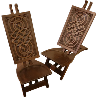 """Very rare pair of """"Africanist"""" chairs in exotic wood"""