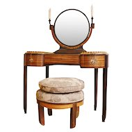 Krieger —Stamped  Art Deco Dressing Table with Stool, Circa 1925,