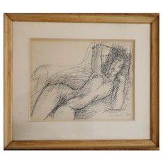 Marcel Gromaire — 'Nu alangui', drawing, 1944