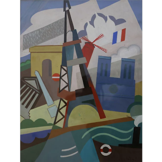 Eiffel Tower Cubist Painting by Pal Patzay Attributed, Hungarian School, 1923