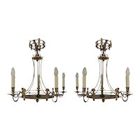 A pair of Empire revival style chandeliers