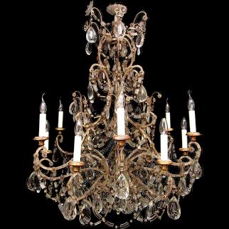 An unusual Italian wrought iron chandelier