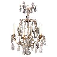 A rock crystal Louis XV style chandelier