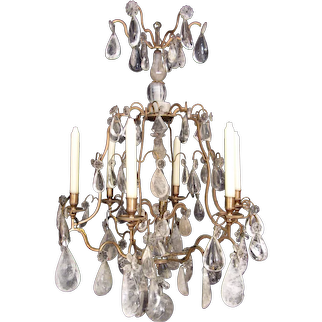 A rock crystal Louis XV style chandelier