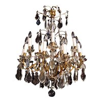 A French gilt and crystal chandelier