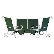 French 1950s 3-Piece Wrought Iron Patio Set