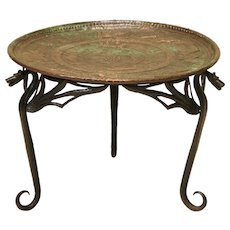 "Wrought Iron ""Dragon"" Coffee Table with Copper Top - France, Early 1900s"