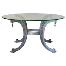 Silvered Iron Coffee Table with Glass Top - France, 1950s
