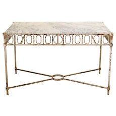 Chic Wrought Iron and Marble Console Table - France, 1940s