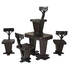 Unusual Art Deco Table and Chair Set - France, 1930s