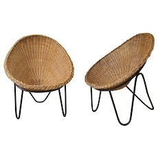 Pair of Wicker and Iron Lounge Chairs - France, 1950s ( 3 Pairs Available )