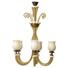 Amber & Milk Glass Murano Chandelier - Italy, 1940s