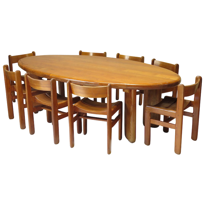 Large Oval Elmwood Table And 8 Chairs France 1950s Xavier Nicod Rubylux