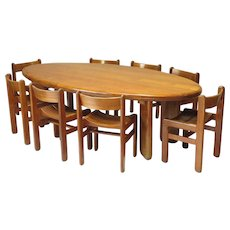 Large Oval Elmwood Table and 8 Chairs - France, 1950s