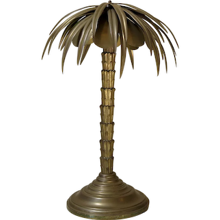 Heavy Brass Palm Tree Lamp - France, circa 1900s