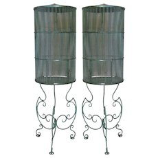 Pair of Elegant Wrought Iron Parrot Cages - France, 19th Century