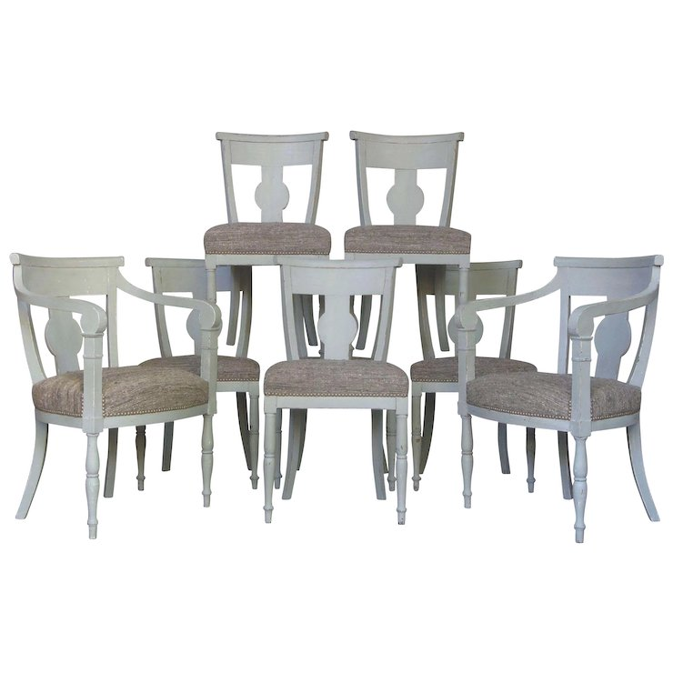 Elegant Set Of Eight Gustavian Style Chairs   France, Late 19th Century