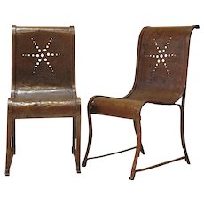 Set of Four Wrought Iron Chairs with Star Design - France, circa 1920s