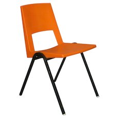 9 Orange Moulded Plastic Chairs - France, Circa 1970s
