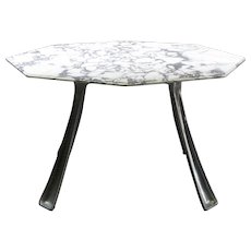 Cast Aluminium and Marble Table by Charron - France, 1970s