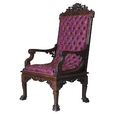Carved & Tufted Orientalist Armchair Attrib. to G. Viardot - France, 19th C