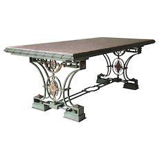 Exceptional Art Deco Wrought Iron and Brocatelle Marble Table - France, 1940s