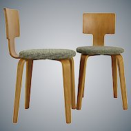 Two 1950s Plywood Children Chairs by Cor Alons