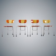 Four Yellow Orange Broadway Chairs by Gaetano Pesce for Bernini