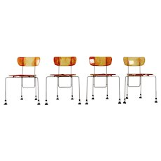 Four Yellow Orange Broadway Chairs by Gaetano Pesce for Bernini