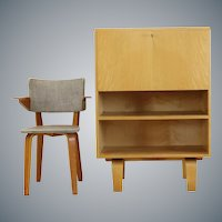 Birchwood  Laminated Desk Flap Small Cabinet by W. Lutjens for Gouda Den Boer