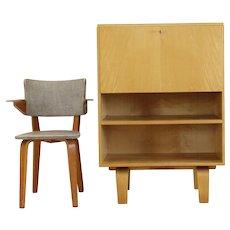 Birchwood  Laminated Desk Flap Small Cabinet by W. Lutjens for Gouda Den Boer