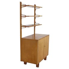UMS Pastoe bentwood birchwood cabinet CB02 with the special bookshelves model AB01