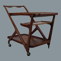 Walnut Cesare Lacca tea trolley for Cassina Italy