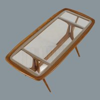 Italian walnut coffee table with frosted glass edge