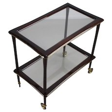 Elegant Italian glass tea serving trolley