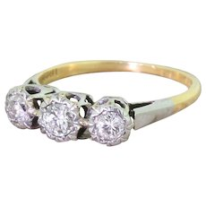 Art Deco 0.35 Carat Old European Cut Diamond Trilogy Ring, circa 1935